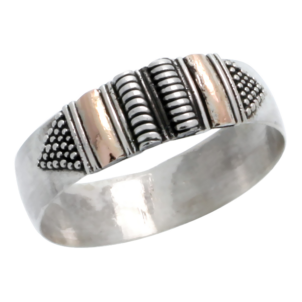 Sterling Silver Bali Style Band, 1/4 inch