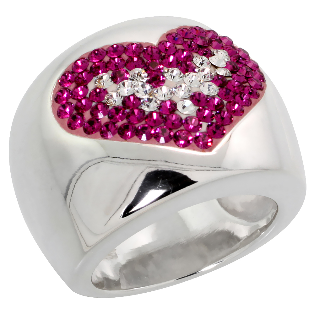 Sterling Silver Heart Pink Topaz Rainbow CZ Cigarband Ring 11/16 inch, sizes 6 - 10