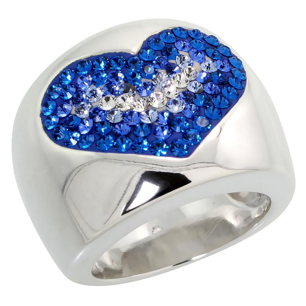 Sterling Silver Heart Blue Sapphire Rainbow CZ Cigarband Ring 11/16 inch, sizes 6 - 10