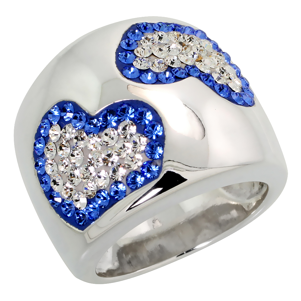 Sterling Silver Hearts Blue Sapphire Rainbow CZ Cigarband Ring 11/16 inch, sizes 6 - 10