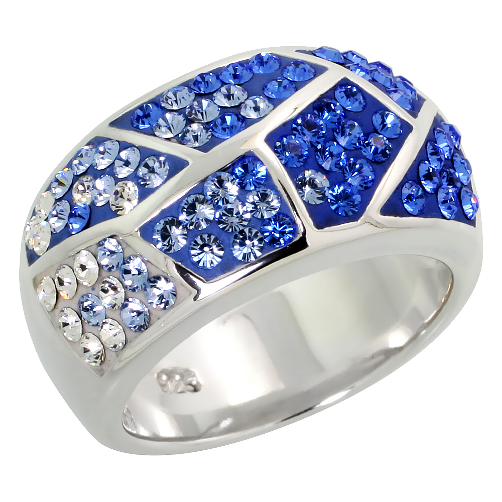 Sterling Silver Freeform Blue Sapphire Rainbow CZ Ring 7/8 inch, sizes 6 - 10