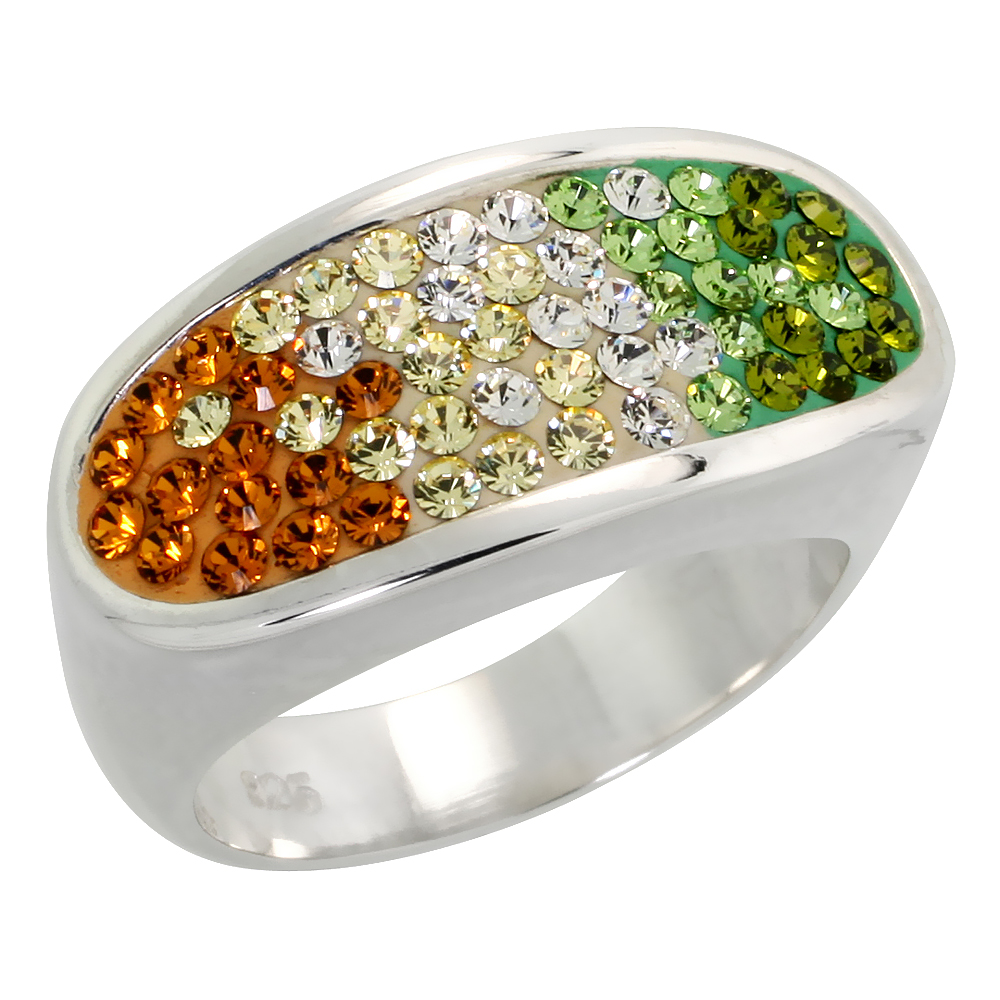 Sterling Silver Oval Peridot - Citrine Rainbow CZ Ring 3/8 inch, sizes 6 - 10