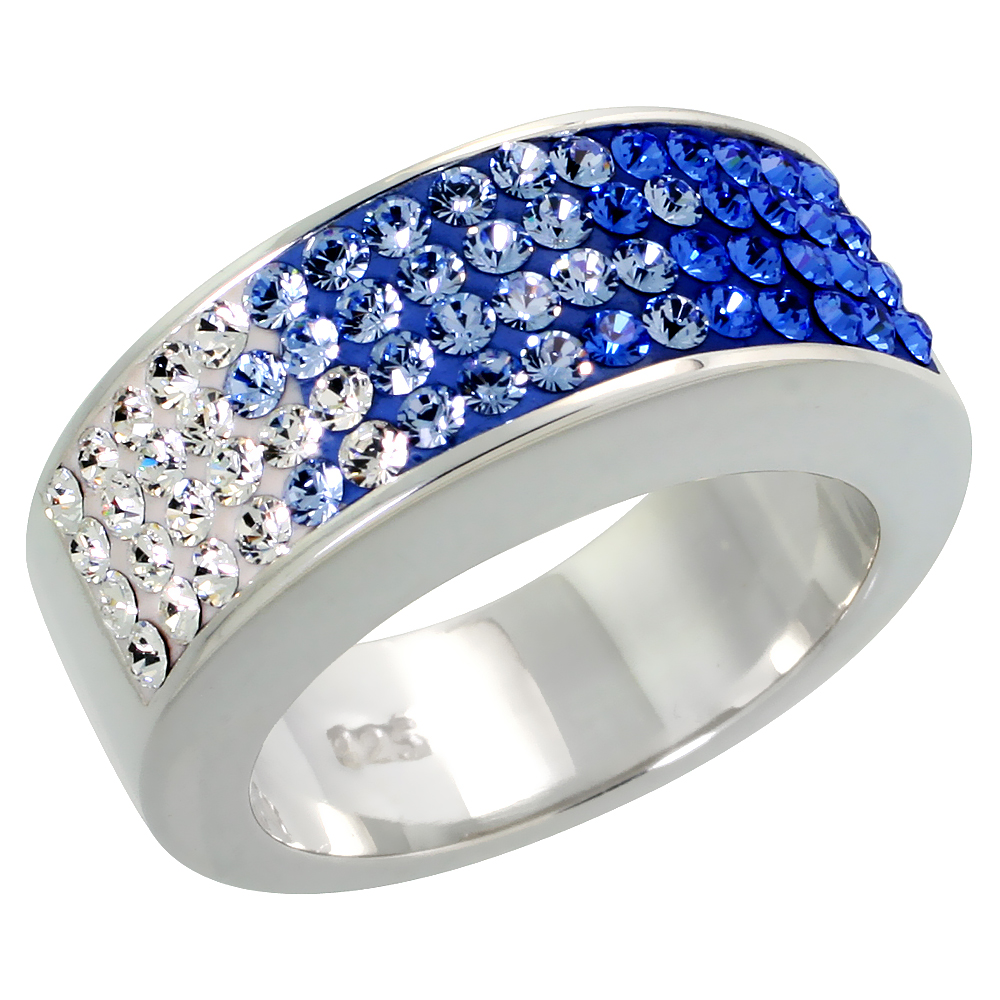 Sterling Silver Blue CZ Rainbow Ring 5/16 inch, sizes 6 - 10
