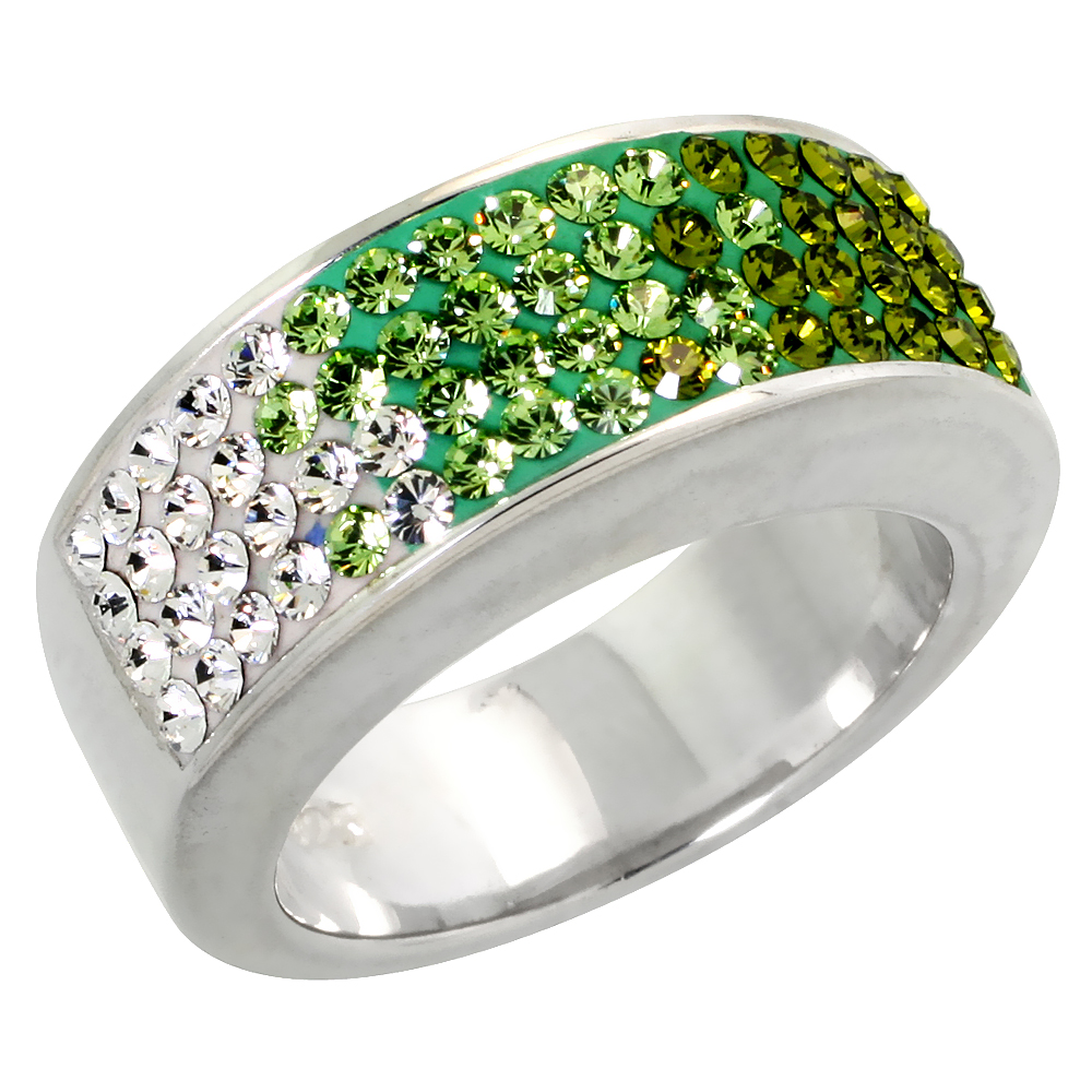 Sterling Silver Peridot CZ Rainbow Ring 5/16 inch, sizes 6 - 10