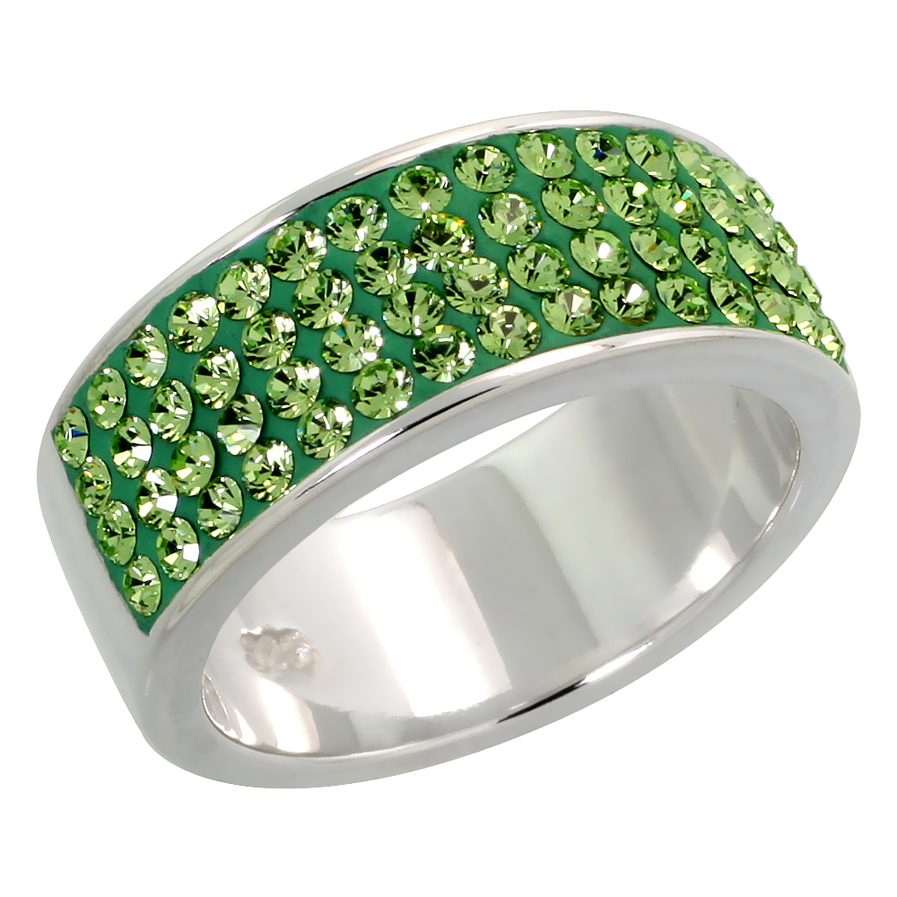 Sterling Silver Peridot CZ Ring 5/16 inch, sizes 6 - 10