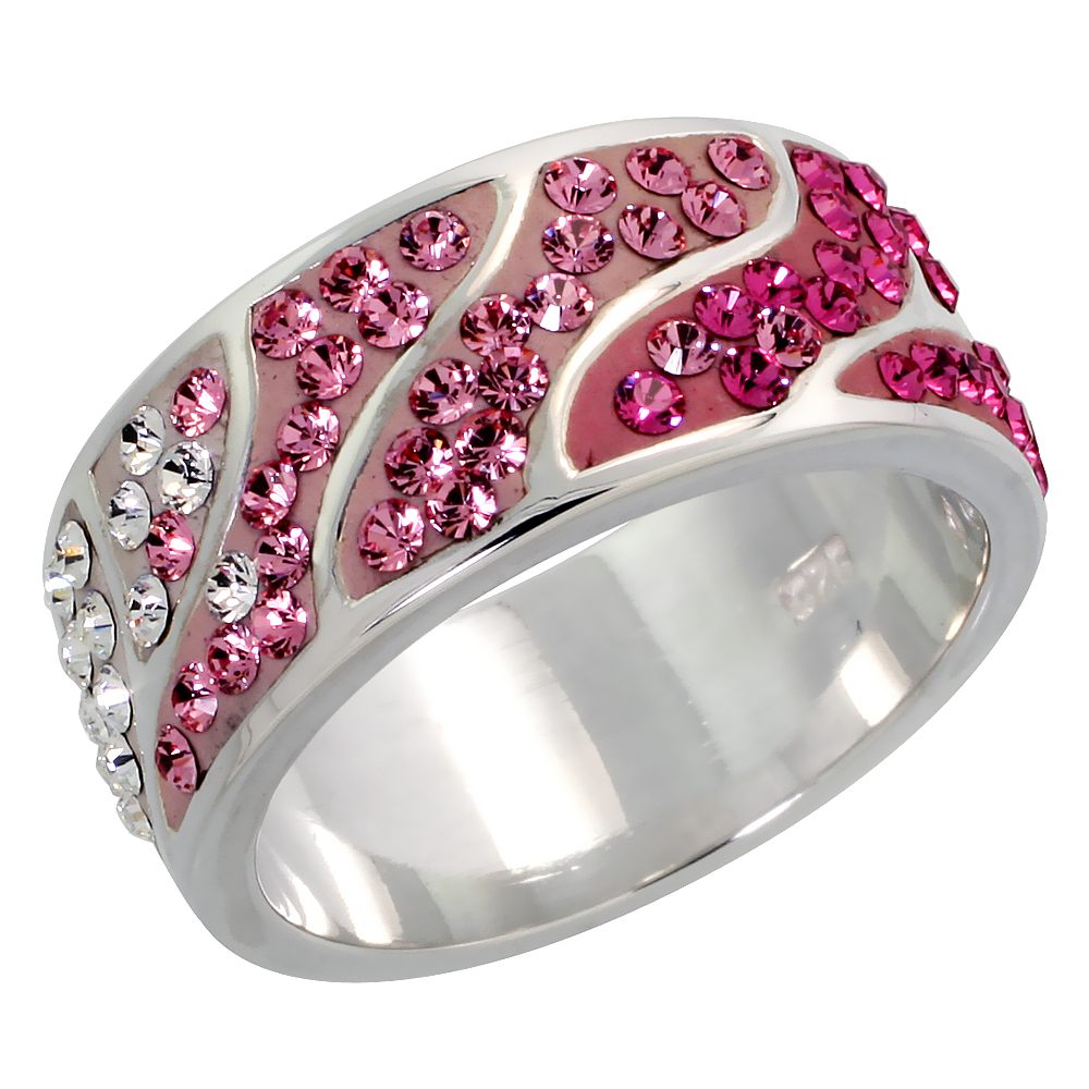 Sterling Silver Pink Topaz CZ Ring 3/8 inch, sizes 6 - 10