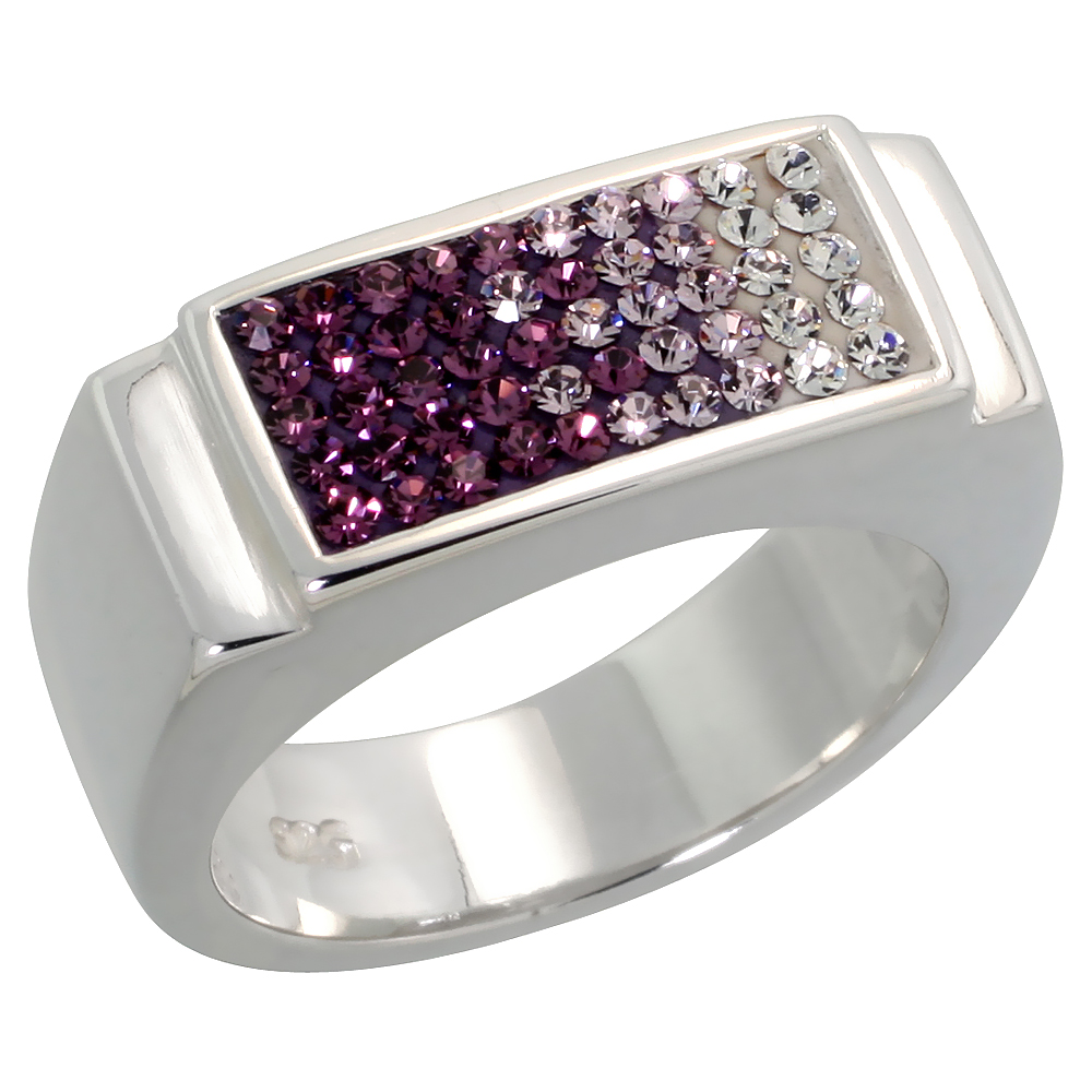 Sterling Silver Rectangular Amethyst CZ Ring 5/16 inch, sizes 6 - 10