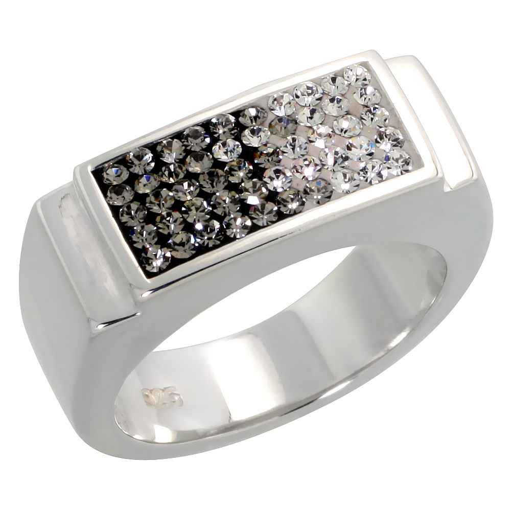 Sterling Silver Rectangular Gray CZ Ring 5/16 inch, sizes 6 - 10