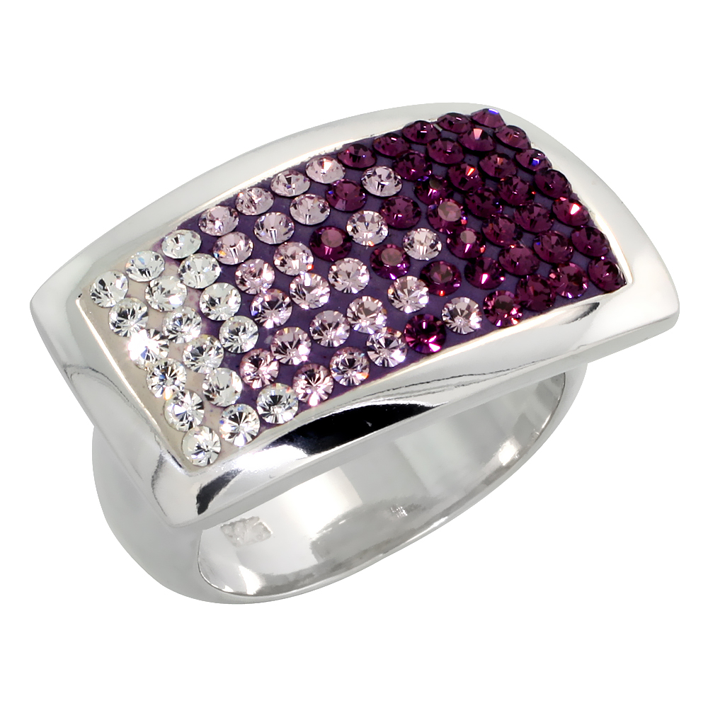Sterling Silver Rectangular Amethyst CZ Ring 9/16 inch, sizes 6 - 10