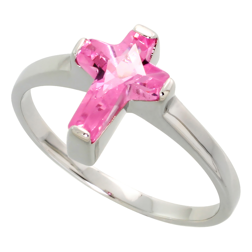 Sterling Silver Pink CZ Cross Ring Rhodium Plating, 7/16 inch