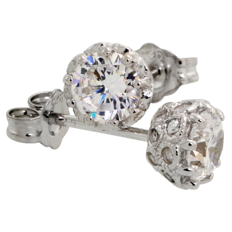 Sterling Silver 6mm Brilliant Cut CZ Stone Stud Earrings
