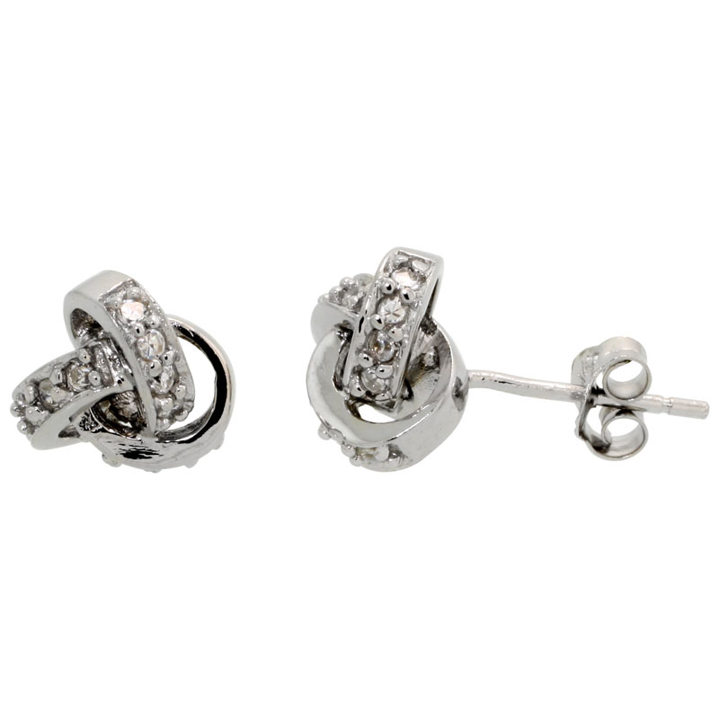 Sterling Silver Love Knot Stud Earrings Brilliant Cut CZ Stones, 5/16 inch