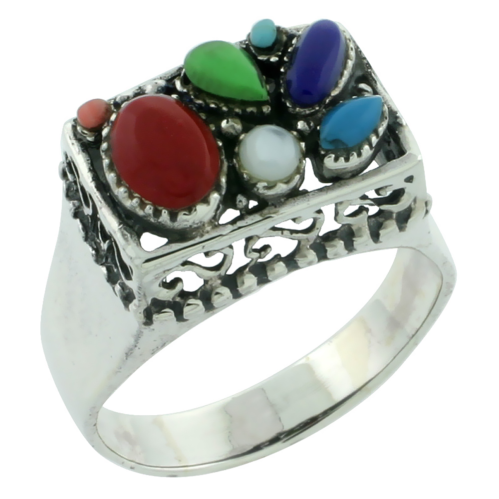 Sterling Silver Multi Color Square Ring Southwest Design Synthetic Stones 9/16 inch,