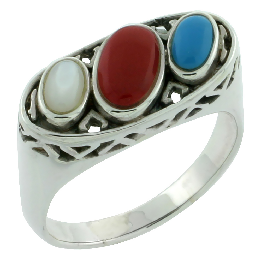 Sterling Silver Multi Color Oval Ring Southwest Design Synthetic Stones 5/8 inch,