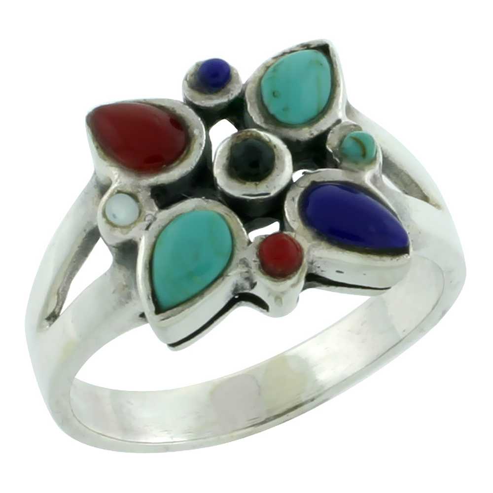 Sterling Silver Multi Color Star Ring Southwest Design Synthetic Stones 5/8 inch,
