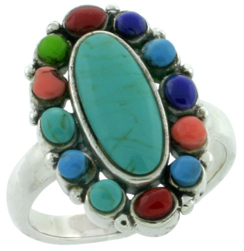 Sterling Silver Multi Color Oval Ring Southwest Design Synthetic Stones 1 inch,