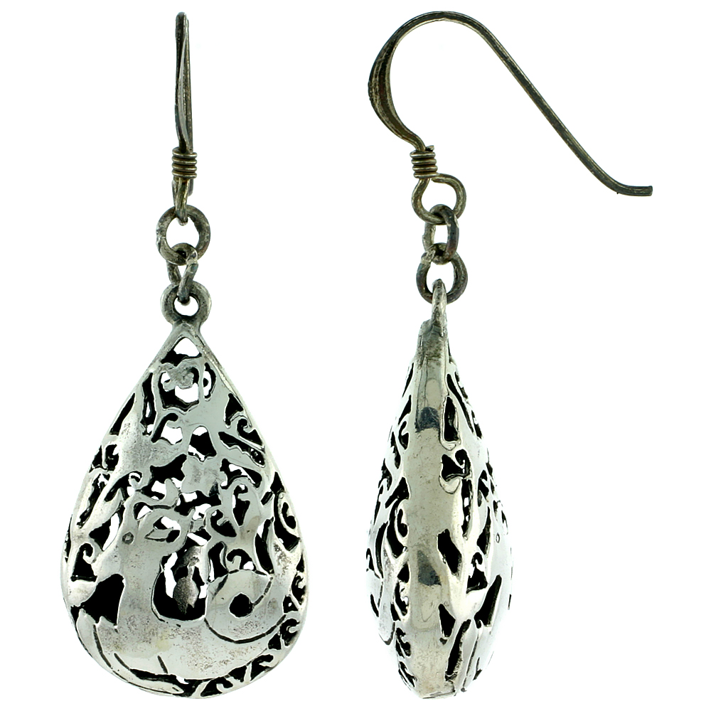 Sterling Silver Aries Earrings Teardrop-shape, 1 1/8 inch