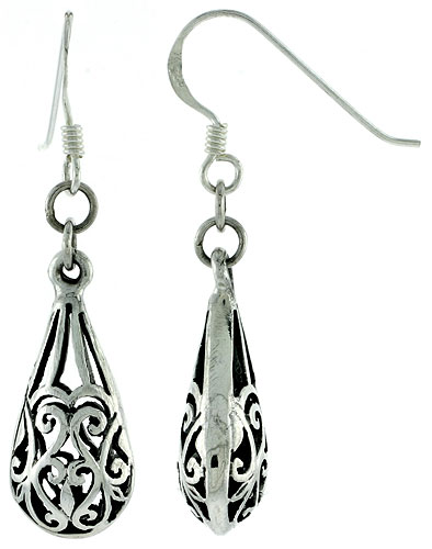 Sterling Silver Teardrop-shape Heart-design Earrings, 7/8 inch