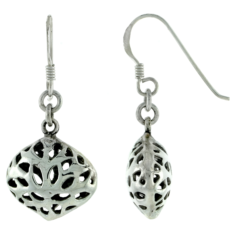 Sterling Silver Round, Filigree-style Earrings, 5/8 inch