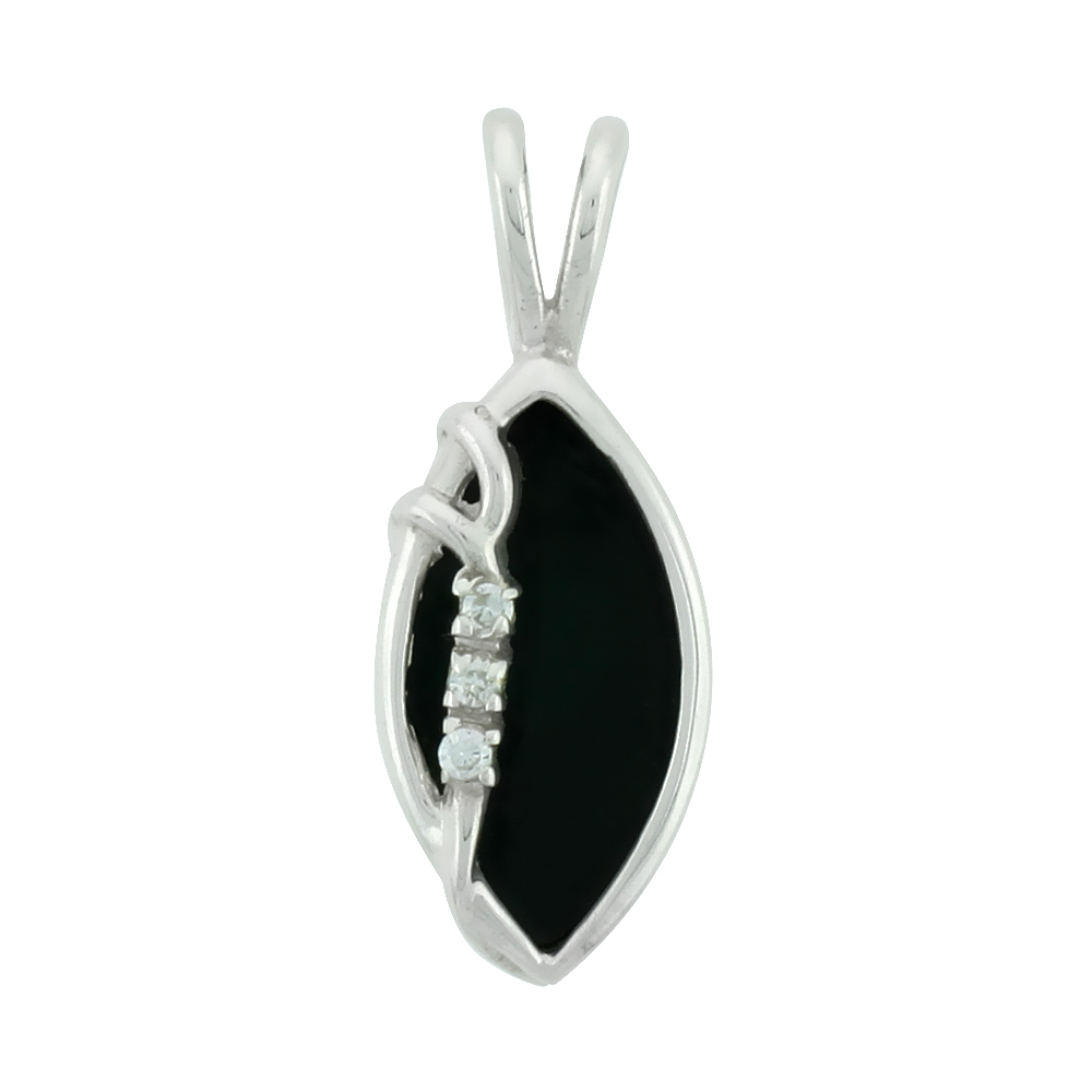 """Small Sterling Silver Jet Stone Marquis shape pendant 11/16"""" (18 mm)"""