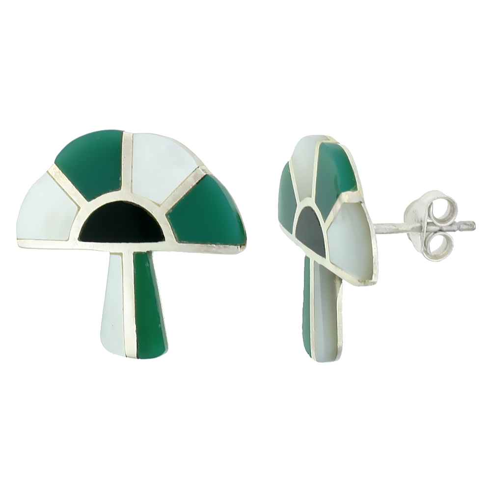 Sterling Silver Mushroom Earrings Green Onyx and Mother of Pearl 3/4 inch long