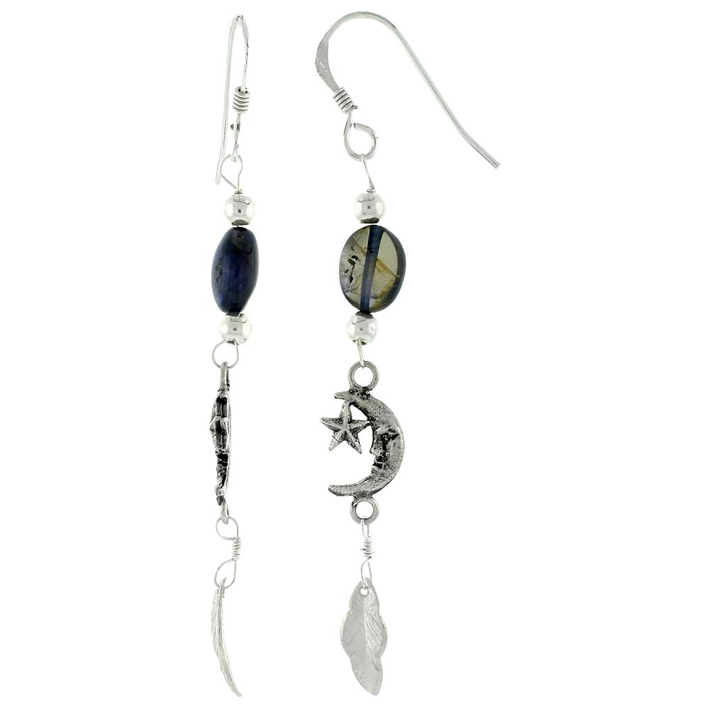 Sterling Silver Moon & Star Earrings 1 3/16 inch long