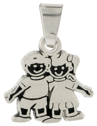 "Sterling Silver Oxidized Smiling Boy and Girl Pendant, 1/2"" (12 mm) tall"