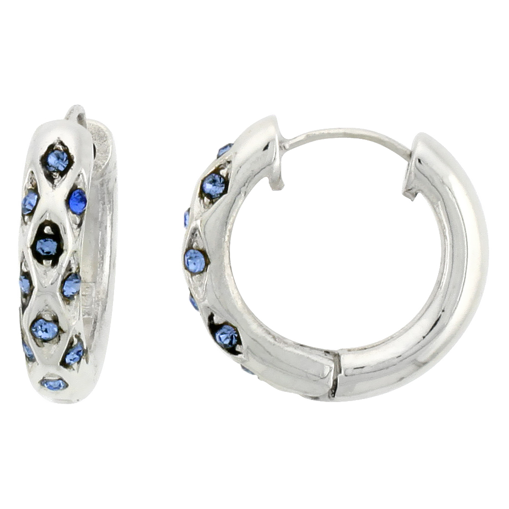 Sterling Silver Huggie Earrings 10 Blue Topaz Colored Crystals, 3/4 inch diameter