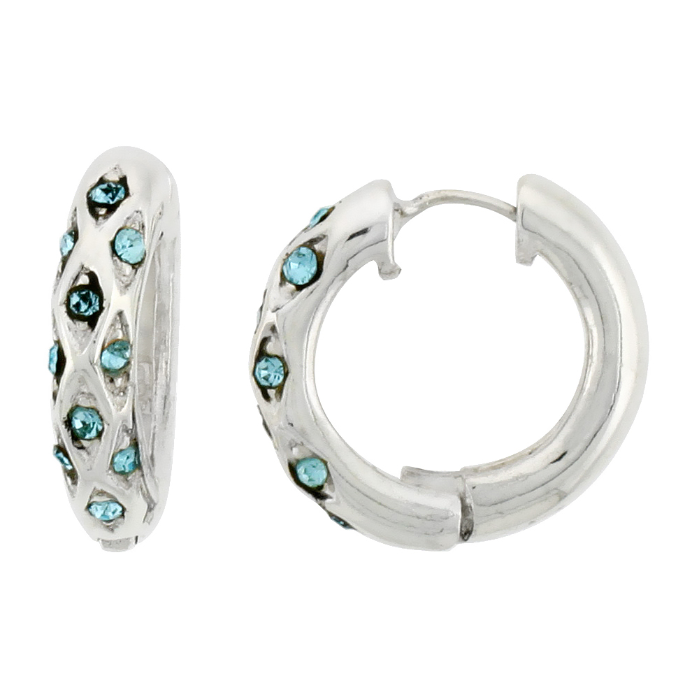 Sterling Silver Huggie Earrings 10 Light Blue Colored Crystals, 3/4 inch diameter