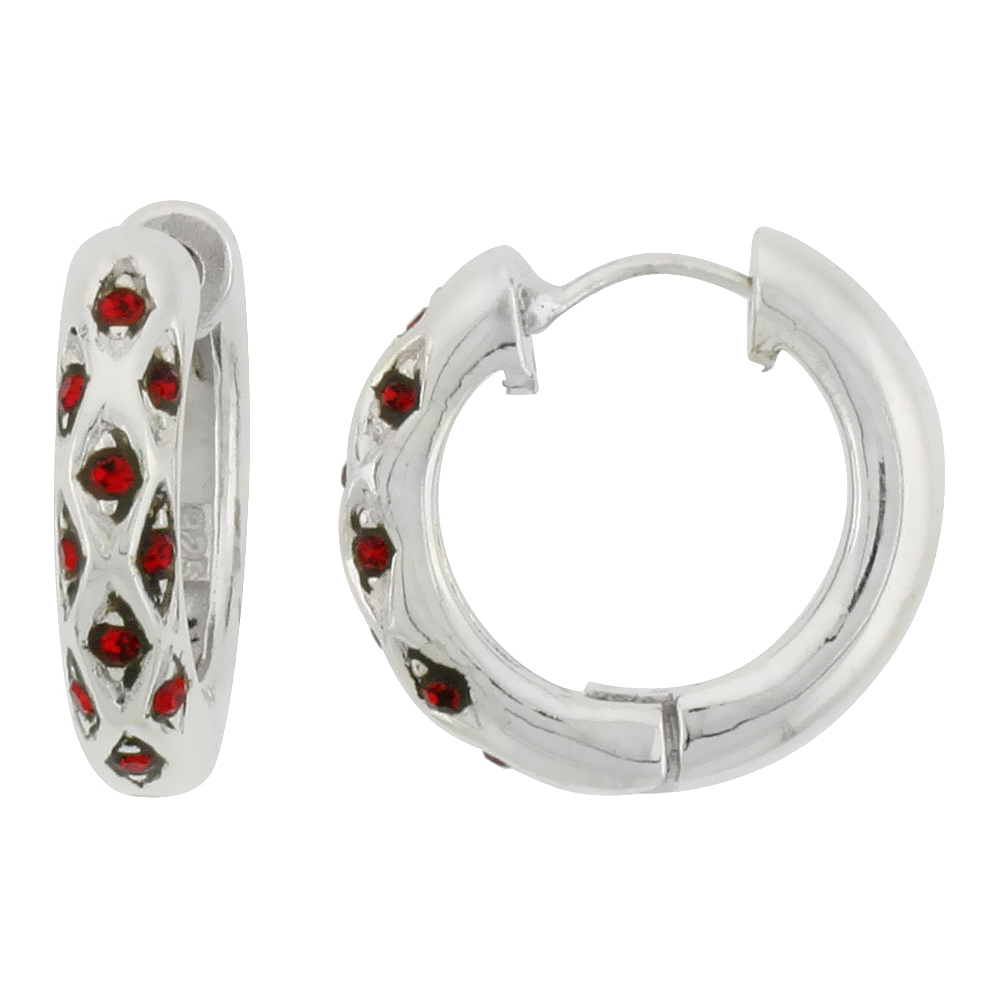 Sterling Silver Huggie Earrings 10 Ruby Colored Crystals, 3/4 inch diameter