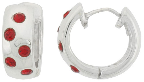 Sterling Silver Tiny Huggie Earrings Five 2mm Ruby Colored Crystals, 1/2 inch diameter