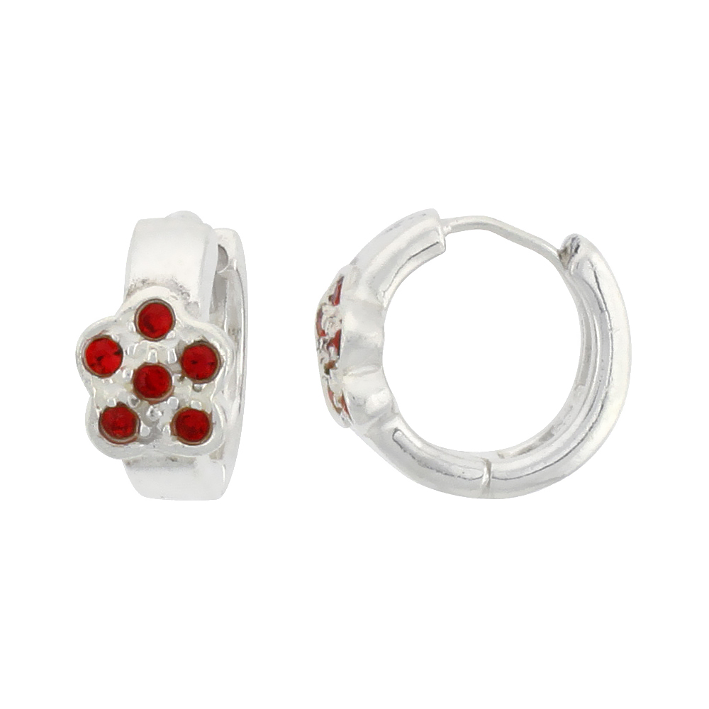 Sterling Silver Tiny Huggie Earrings, 6 Ruby Colored Crystals in Flower Shape, 1/2 inch diameter