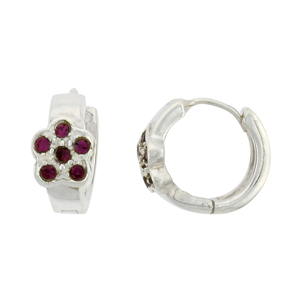 Sterling Silver Tiny Huggie Earrings, 6 Amethyst Colored Crystals in Flower Shape, 1/2 inch diameter