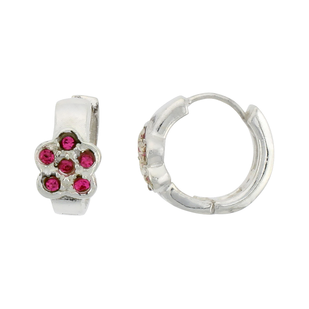 Sterling Silver Tiny Huggie Earrings, 6 Pink Colored Crystals in Flower Shape, 1/2 inch diameter