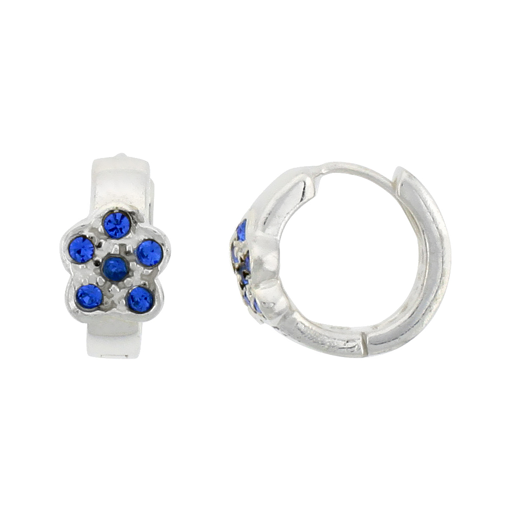 Sterling Silver Tiny Huggie Earrings, 6 Sapphire Colored Crystals in Flower Shape, 1/2 inch diameter