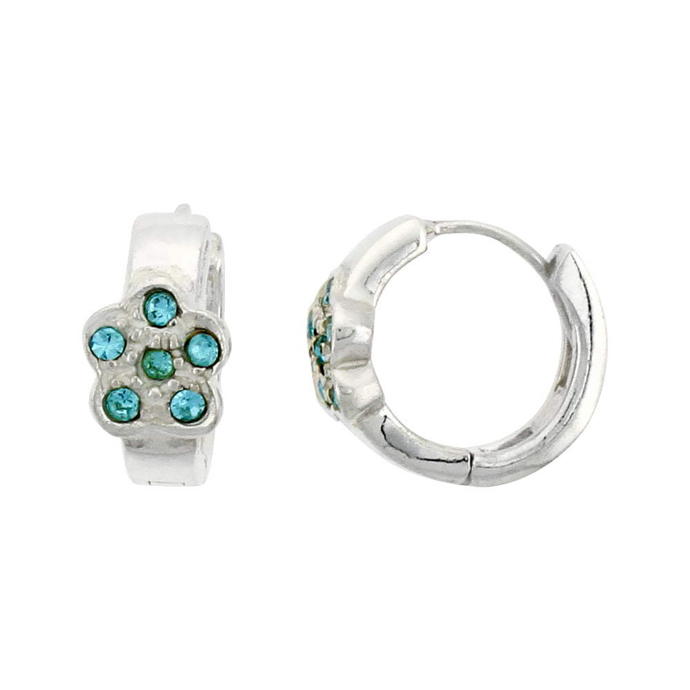 Sterling Silver Tiny Huggie Earrings, 6 Blue Topaz Colored Crystals in Flower Shape, 1/2 inch diameter