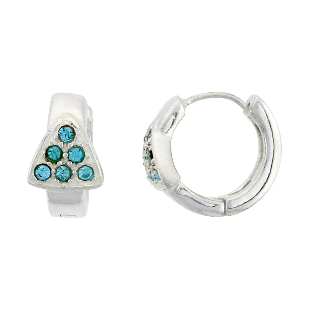 Sterling Silver Tiny Huggie Earrings, 6 Blue Topaz Crystals in Triangular Shape, 1/2 inch diameter