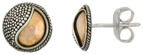 Sterling Silver Stud Earrings, Accented Real 18k Gold, 5/16 inch tall