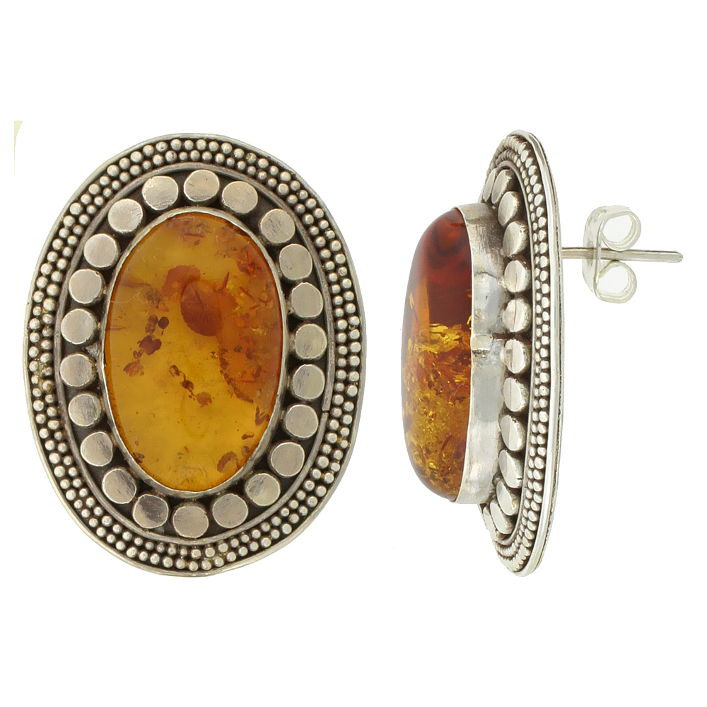 Sterling Silver Oval-shaped Earrings, 20 x 12 mm Cabochon Cut Russian Baltic Amber Stone, 1 3/16 inch tall