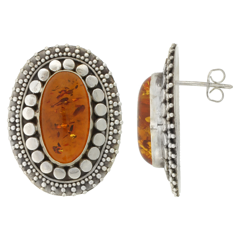 Sterling Silver Oval-shaped Earrings, 18 x 10 mm Cabochon Cut Russian Baltic Amber Stone, 1 1/8 inch tall