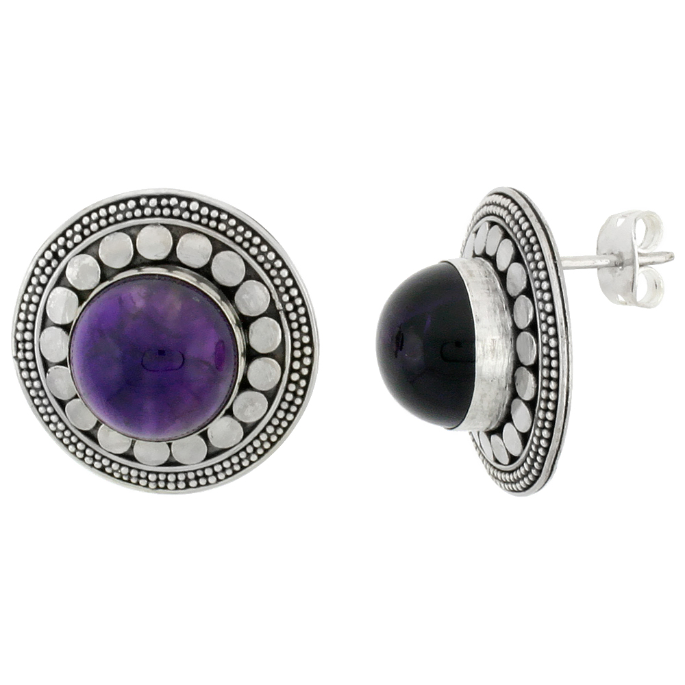 Sterling Silver Round-shaped Earrings, 11mm Cabochon Cut Natural Amethyst Stone, 13/16 inch tall