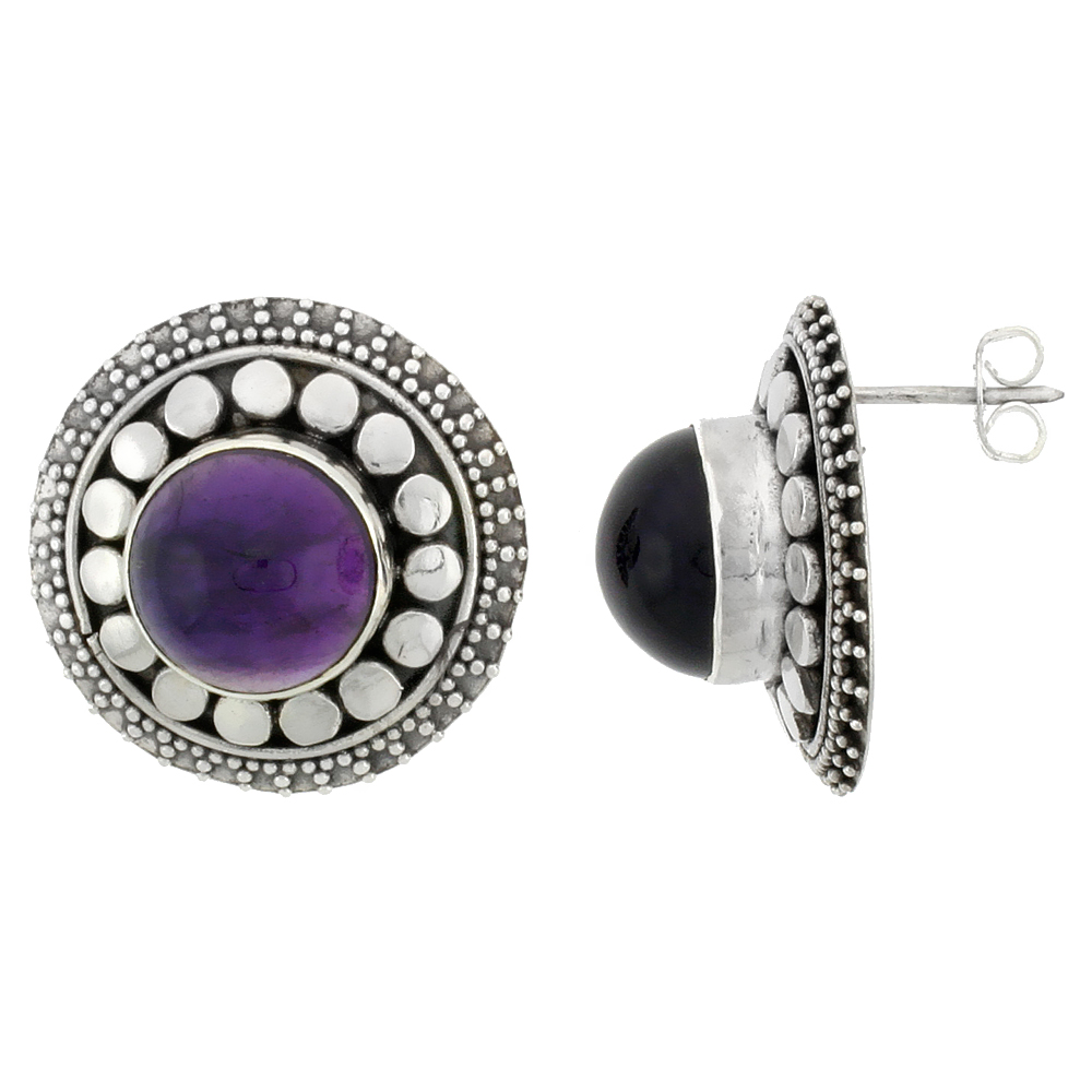 Sterling Silver Round-shaped Earrings, 12mm Cabochon Cut Natural Amethyst Stone, 7/8 inch tall