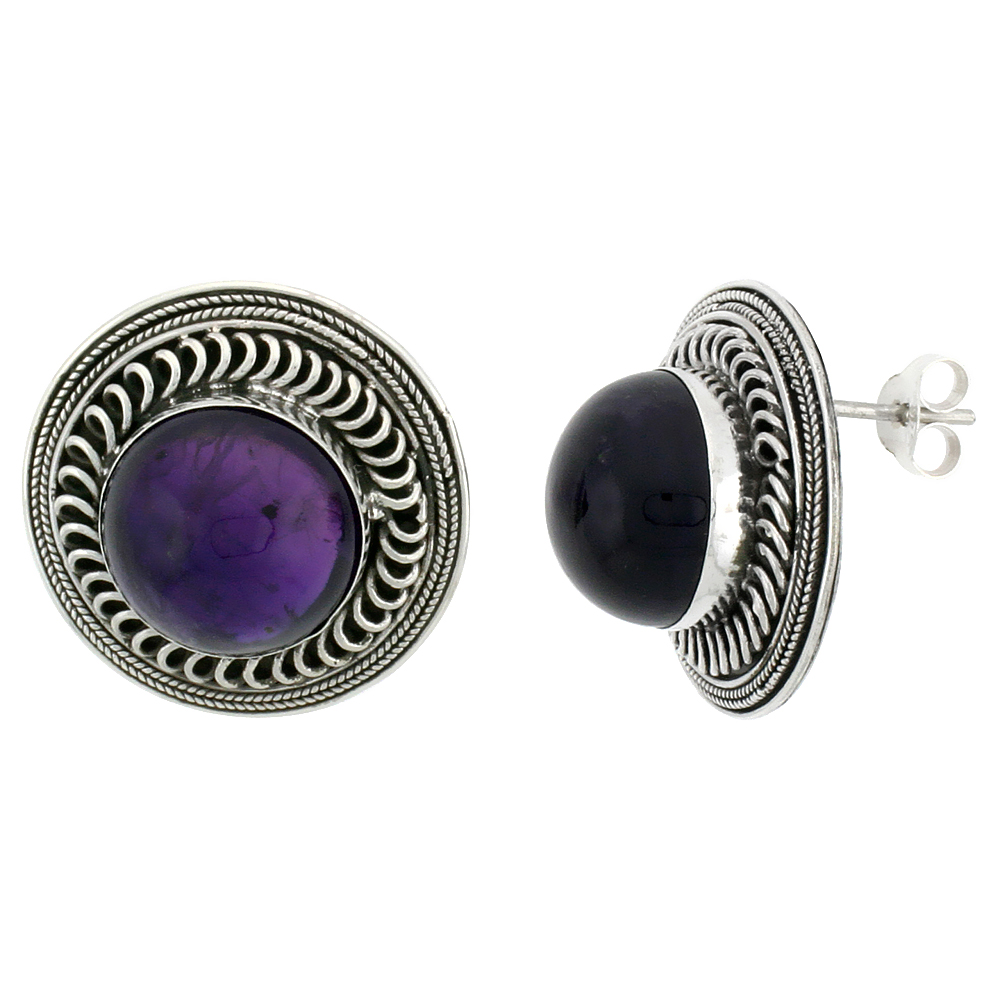 Sterling Silver Round-shaped Earrings, 12mm Cabochon Cut Natural Amethyst Stone,13/16 inch tall