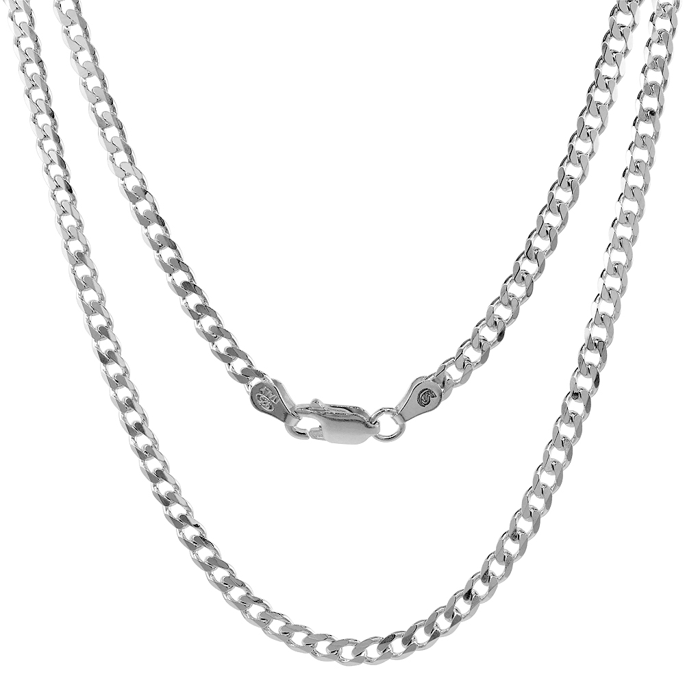 Sterling Silver Cuban Curb Link Chain Necklaces & Bracelets 3.8mm Beveled Edges Nickel Free Italy, 7-30