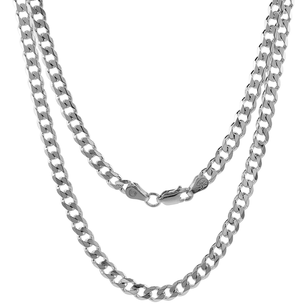 Sterling Silver Curb Cuban Link Chain Necklaces & Bracelets 4.5mm Beveled Edges Nickel Free Italy, 7-30
