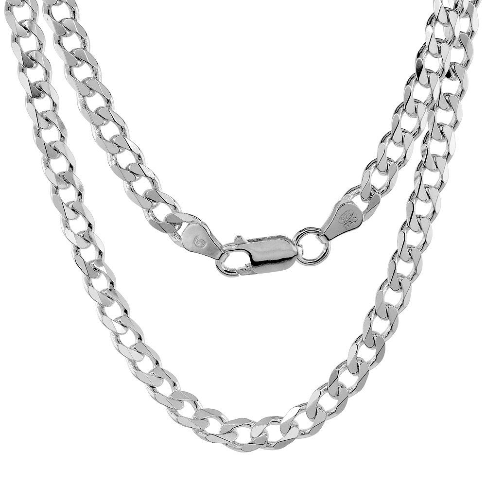 Sterling Silver Cuban Curb Link Chain Necklaces & Bracelets 5.5mm Beveled Edges Nickel Free Italy, 7-30