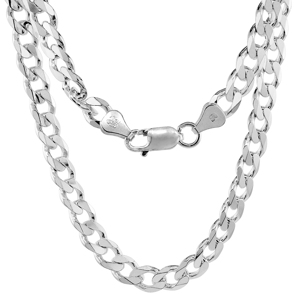 Sterling Silver Cuban Curb Link Chain Necklaces & Bracelets 6.6mm Beveled Edges Nickel Free Italy, 7-30