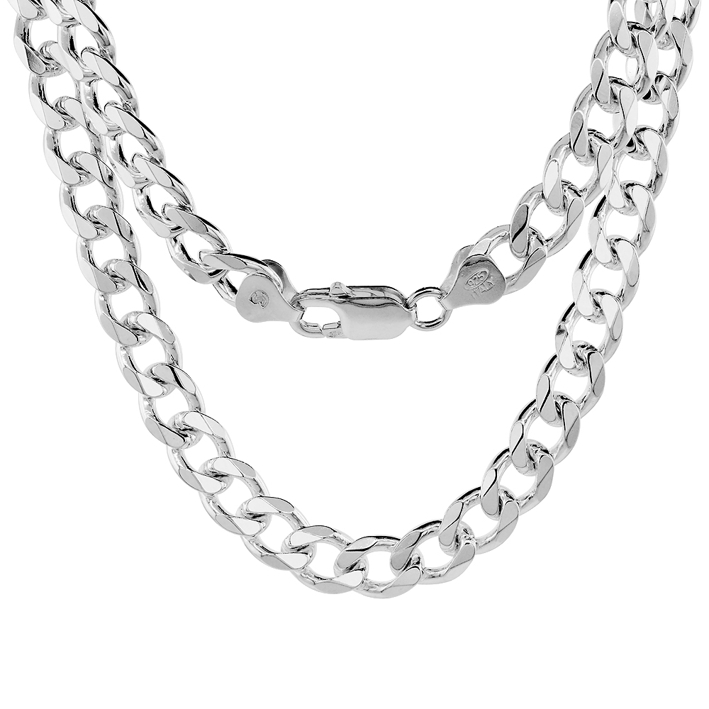 Sterling Silver Cuban Curb Link Chain Necklaces & Bracelets 8mm Nickel Free Italy, sizes 7 - 30 inch