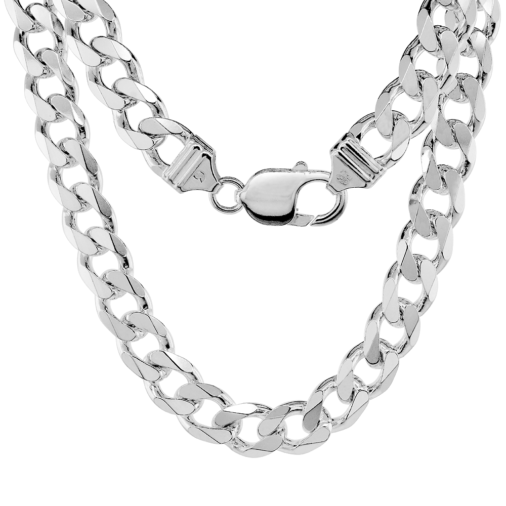 Sterling Silver Thick Cuban Curb Link Chain Necklaces & Bracelets 9mm Beveled Nickel Free Italy, 7-30