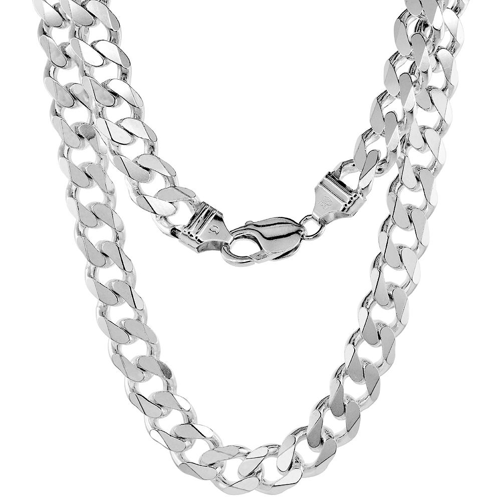 Sterling Silver Thick Curb Cuban Link Chain Necklaces & Bracelets 10.7mm Beveled Nickel Free Italy, 8-30
